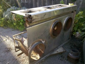 Fresh and dirty used wok stove